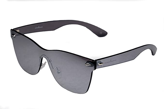 online Shop kosten charm kostenloser Versand amoloma Rahmenlose Randlose Nur Glas Sonnenbrille Wayfarer Stil silber  verspiegelt