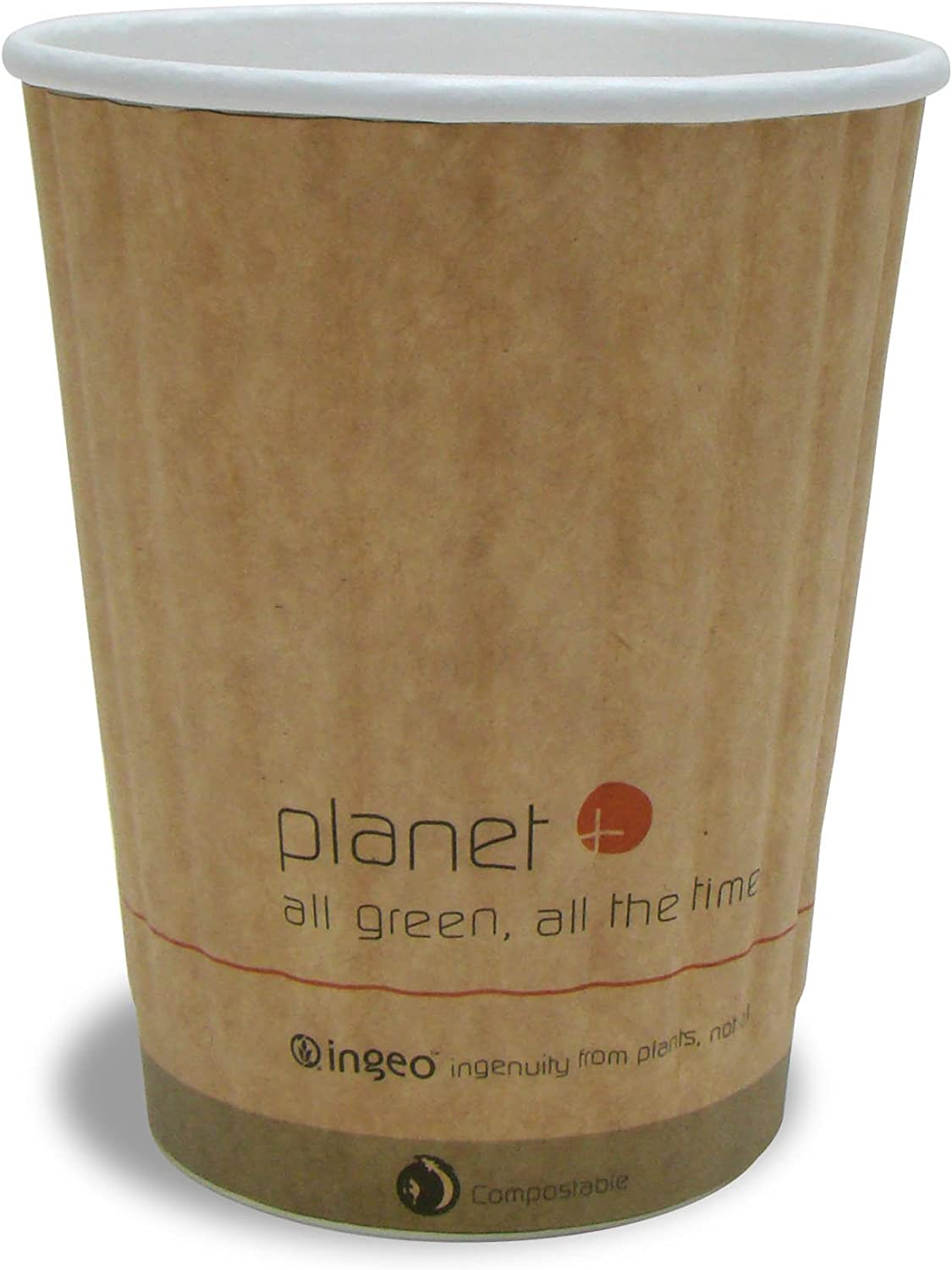 Planet+ 100% Compostable PLA Laminated Double-Wall Insulated Hot Cup, 12-Ounce, 1000-Count Case (PLC-12-DW)