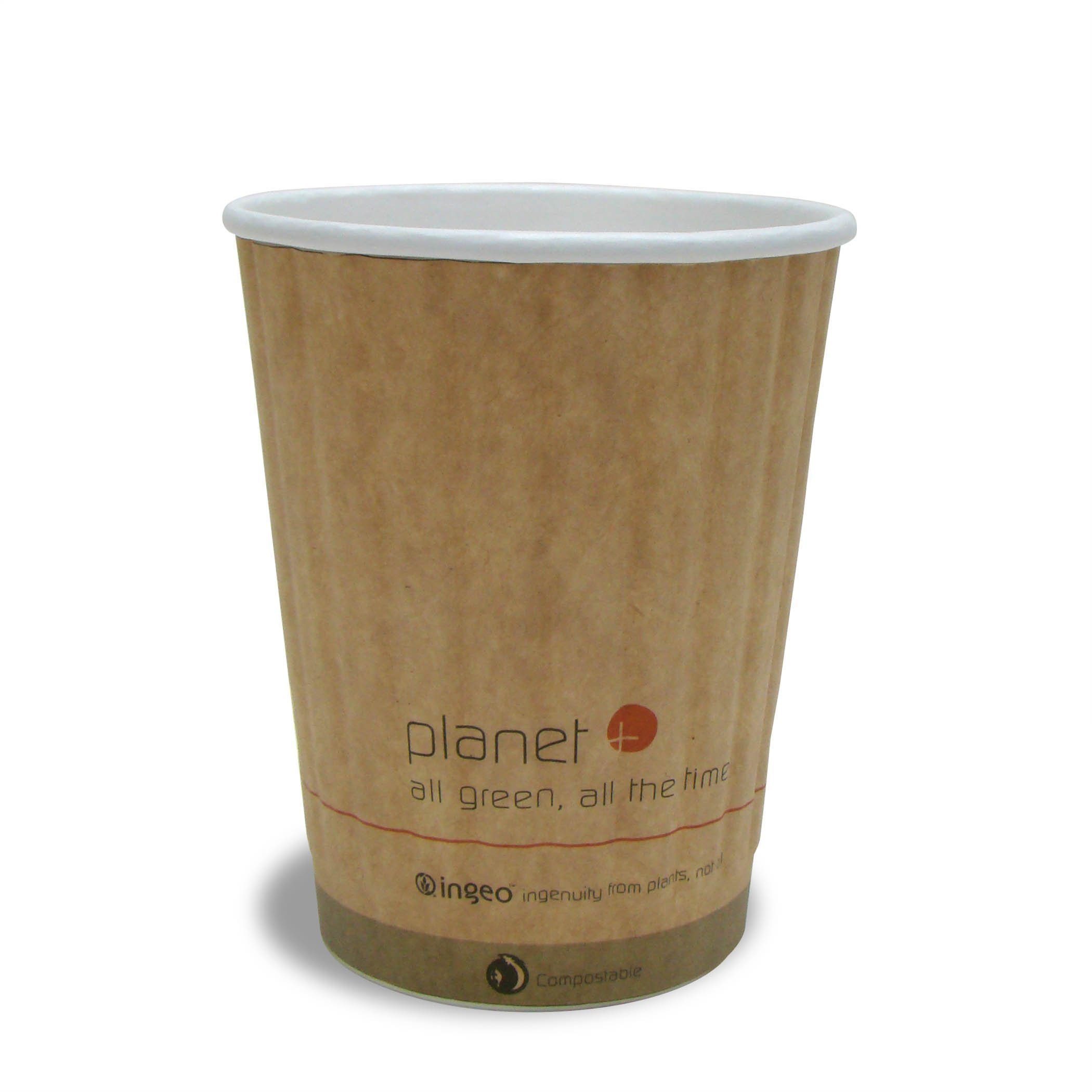 Planet + 100% Compostable PLA Laminated Double Wall Insulated Hot Cup, 12-Ounce, 1000-Count Case