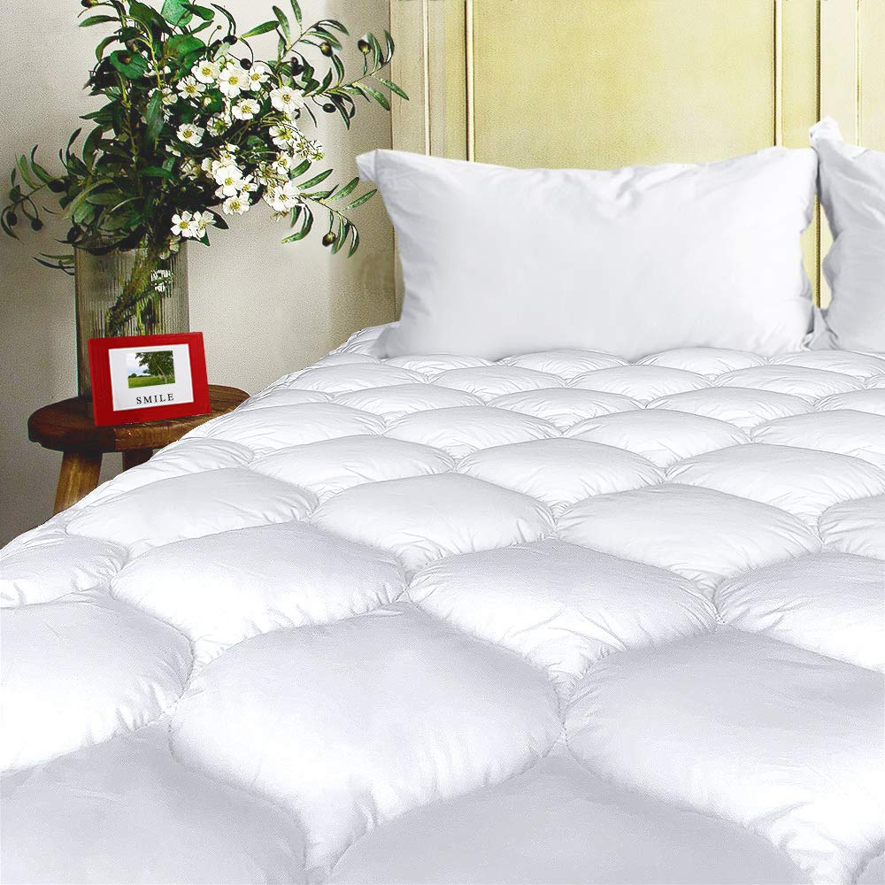 """BEL TESORO Mattress Pad Cover Full Cooling Soft Mattress Topper Combed Cotton Filled Stretches Up to 8-21"""" Deep Pocket"""
