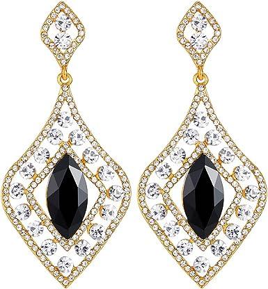 1920s Statement Earrings. Clear Art Deco Earrings