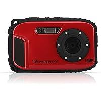 Cámara Subacuática, STOGA CGT002 Impermeable Digital Cámara Vídeo 1.8 Pulgadas LCD Frontal LCD con de 2.1 Pulgadas Cámara Easy Shot Automática - Rojo