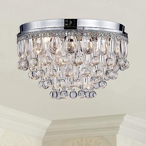 Moderno Claro Cristal Gota de lluvia Cromo redondo Araña Montaje empotrado Techo Lámpara de iluminación de