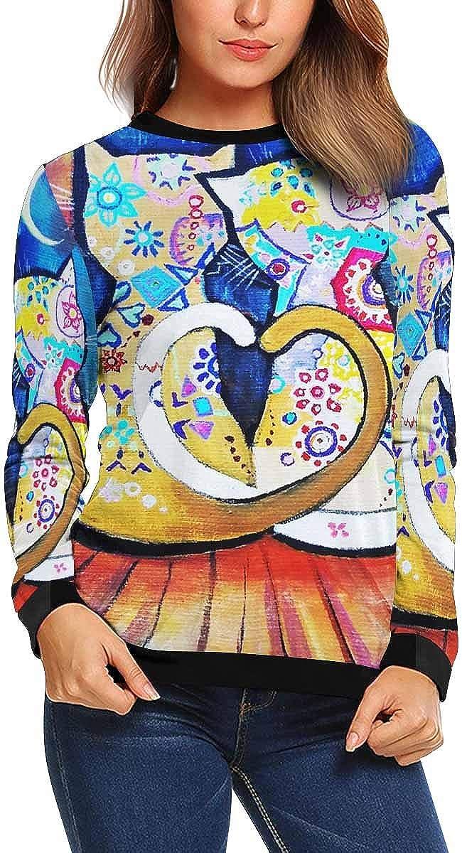 XS-XL INTERESTPRINT Womens Crew Neck Pullover Valentine Painted Cat Long Sleeve Sweatshirt Tops
