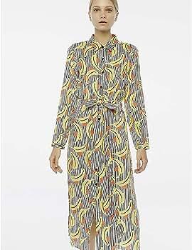 Compañía Fantastica Vestido Largo Platanos Mujer XS: Amazon.es: Ropa y accesorios