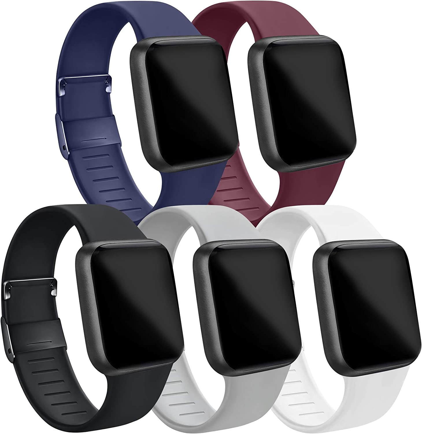IEOVIEE [Pack 5] Compatible for Apple Watch Bands 38mm 42mm women men, Soft Silicone Strap Compatible with iWatch bands Series 6 5 4 3 2 1 & SE (Black/Gray/Navy Blue/Wine Red/White, 42mm/44mm-M/L)