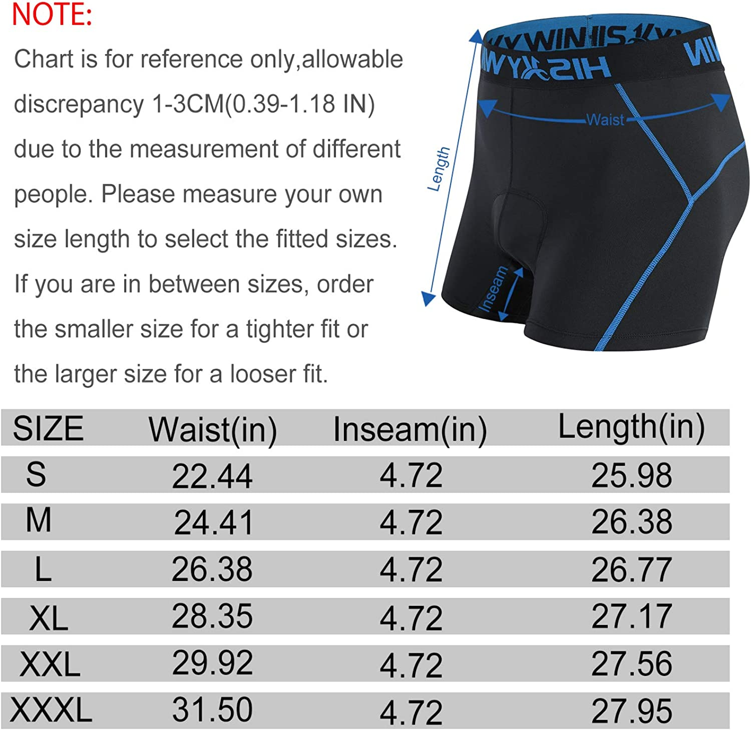 HISKYWIN Mens 3D Padded Cycling Underwear Shorts Bike Undershorts Bicycle MTB Underpants Breathable Briefs MTB