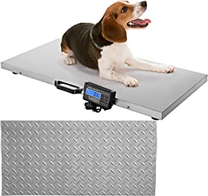 LOVSHARE Digital Livestock Scale 400Lbs x 0.2Lbs Pet Vet Scale Large Platform 20.5x16.5 Inch Stainless Steel Industrial Floor Scale Postal Shipping Scale Pig Scale Dog Weight Scale for Office Home Gym