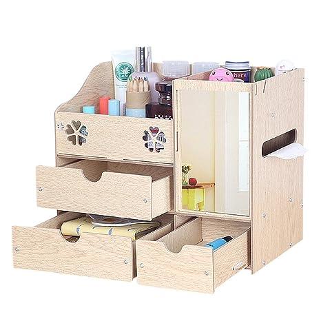 Drasawee DIY de madera cosméticos caja de almacenamiento ...