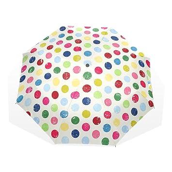 Generic paraguas colorido lunares Auto paraguas poliéster Pongee impermeable compacto paraguas automático paraguas plegable para viaje