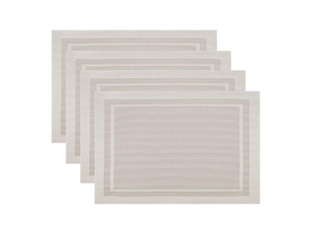 KAF Home Moderne PVC Set of 4 w pm 47364-s4 Champagne with Border Placemat 13 x 17 inches