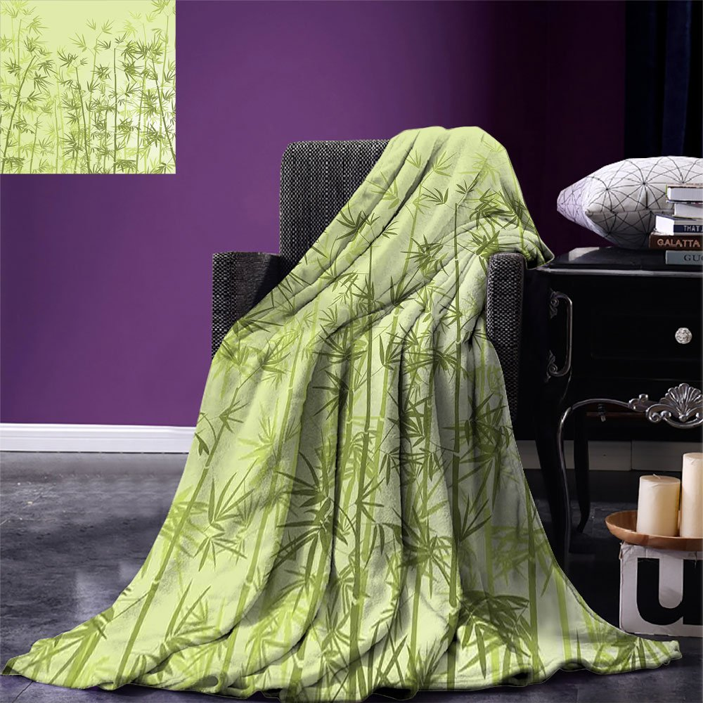 smallbeefly Forest Throw Blanket Tropical Style Woodland Spiritual Nature Spa Chakra Zen Yoga Concept Warm Microfiber All Season Blanket for Bed or Couch Pale Green Dark Green