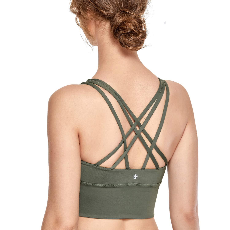 CRZ YOGA Strappy Sports Bras for Women Longline Wirefree Padded Medium Support Yoga Bra Top Grey Sage M by CRZ YOGA