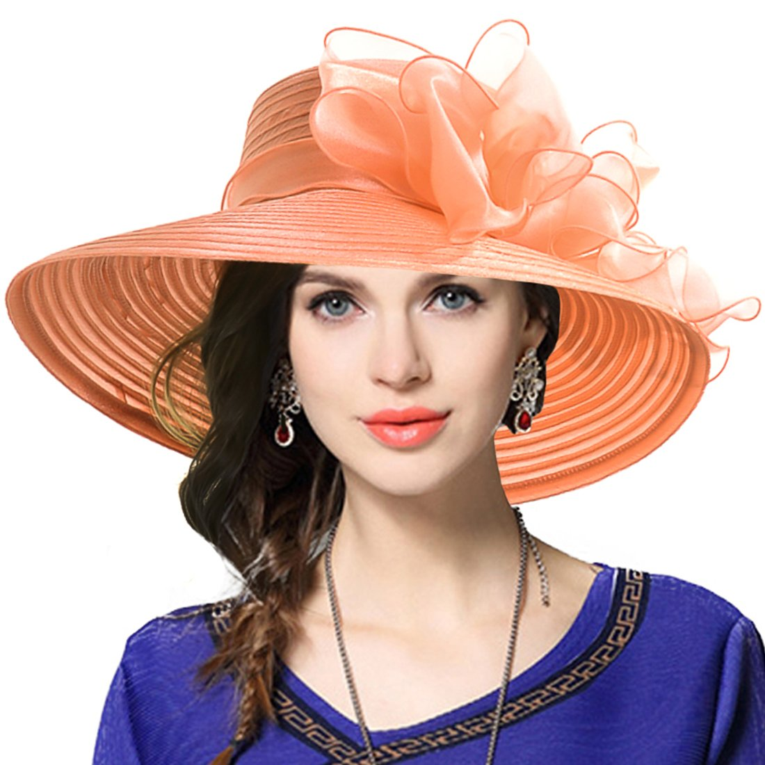 Lady Derby Dress Church Cloche Hat Bow Bucket Wedding Bowler Hats (Wide Brim-Orange, Medium)