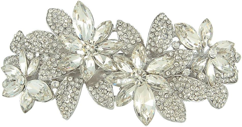 EVER FAITH Womens Austrian Crystal Vintage Style Wedding Bridal Hair Comb Clear Silver-Tone