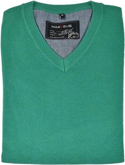 Marvelis Herren Strick Pullover Shirt meliert reine Baumwolle