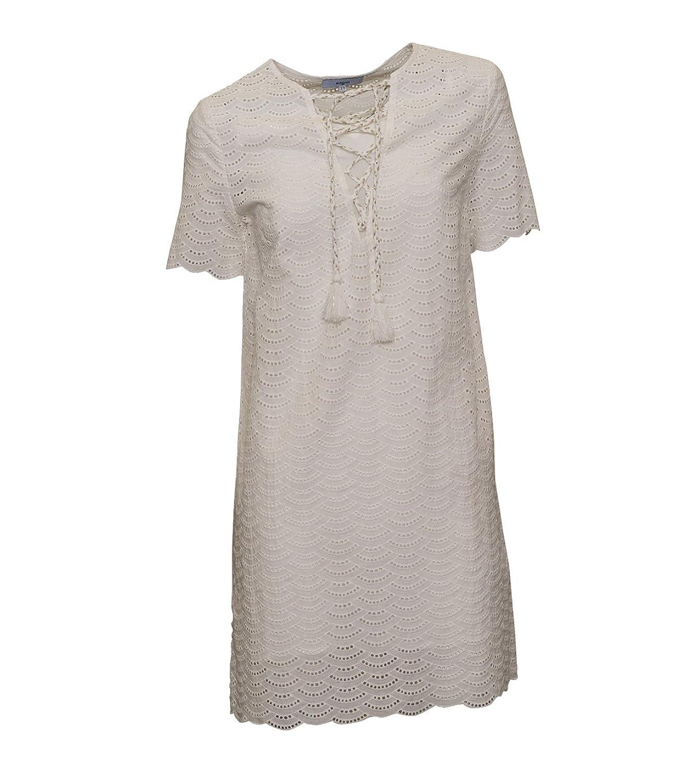 SUNCOO Damen Kleid Cerise mit Schnürung in Weiss
