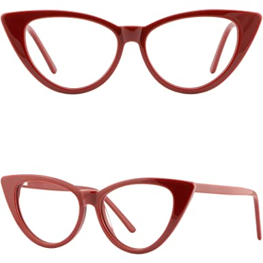 a32900f9974 Image Unavailable. Image not available for. Color  Large Womens Cateye  Frame Plastic Spring Hinges Cat Eye Prescription Glasses Red