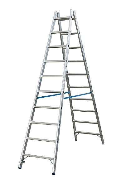 LEB937 Escalera Doble con 2 x 10 Peldaño, 4.1 m Altura de Escalera, 2.7 m Altura Escalera: Amazon.es: Industria, empresas y ciencia