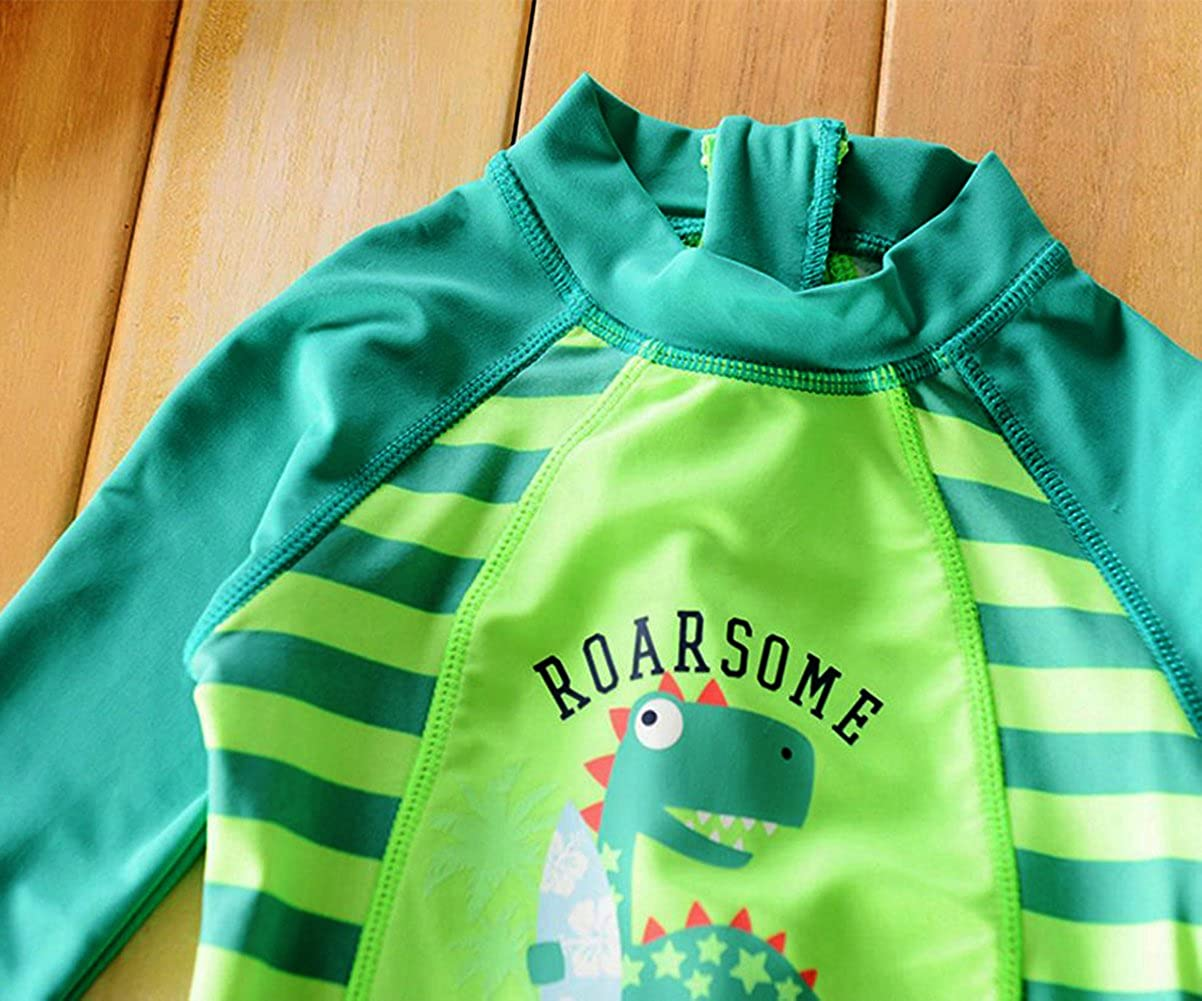 MNLYBABY Toddler Baby Boy Summer Long Sleeve One Piece Rash Guard Swimsuit Sun Protection
