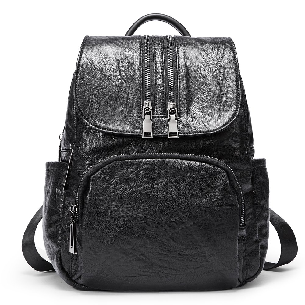 Backpack Purse for Women PU Leather Fashion Anti-theft Shoulder Bag Ladies Large Waterproof Travel Bag black