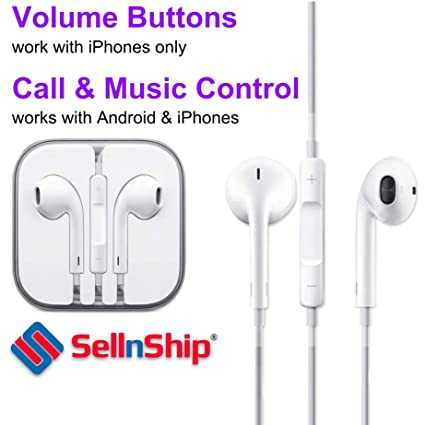 SellnShip Wired In-Ear Headphone with 3 5mm Jack & Mic for all Smartphones  (White)