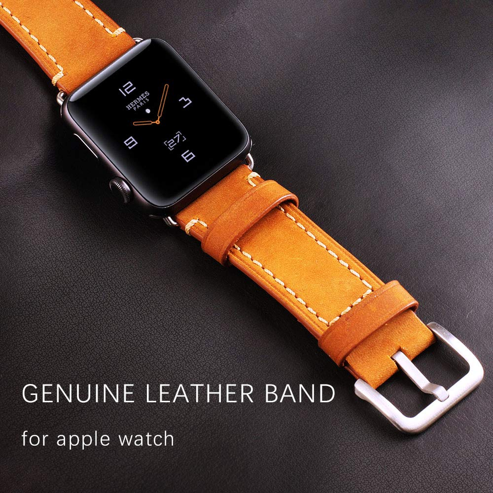 Compatible Apple Watch Band 42mm Mkeke Genuine Leather iWatch Bands Vintage Brown by Mkeke (Image #4)