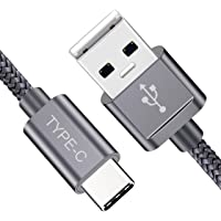 Mystical Master USB Type C Cable Fast Charging 2 Meters (6.6FT) USB A to USB-C Nylon Braided Long Cable Compatible with Xiaomi, OnePlus, Motorola, Nokia, Xiaomi, Honor, Samsung, Oppo, Vivo Type C Devices (Grey)
