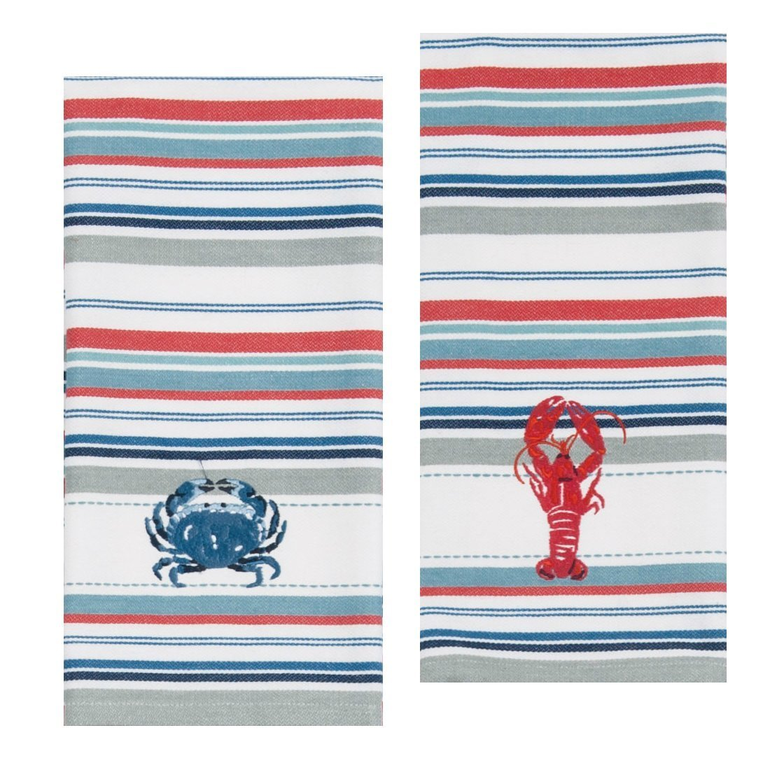 Kay Dee Designs Lobster & Crab Stripe Embroidered Towel Set