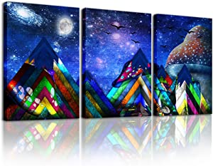 Canvas Wall Art Paintings for Living Room inspirational Abstract Geometry Wall Artworks Pictures Bedroom Decoration,3 Panels Wood grain blue Abstract Space Canvas art Prints Home bathroom Wall decor