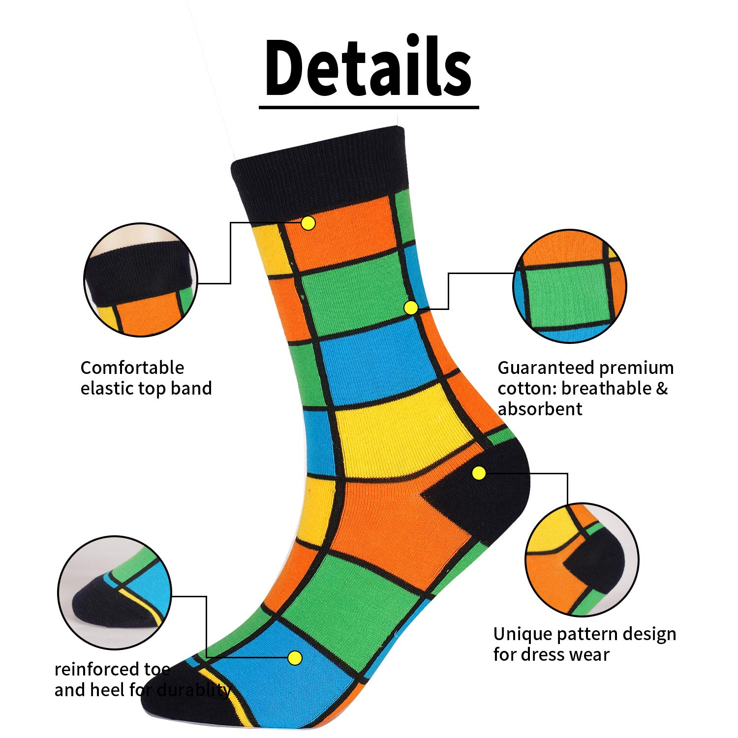 Jielucix Ladies Colourful Cotton Socks Funny Novelty Crazy Striped Multipack 6-9