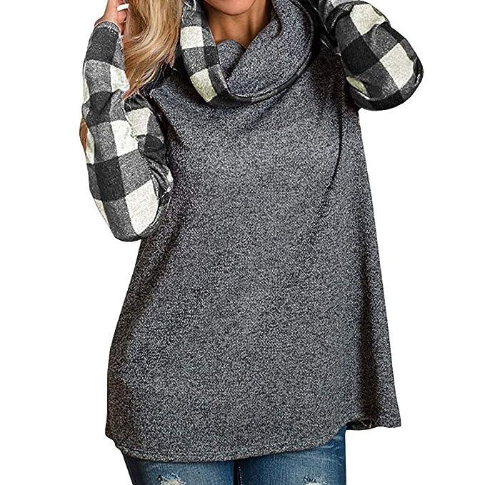 Auifor Cuello Alto para Mujer Tops Camisas de Tela Escocesa Túnica Camiseta de Manga Larga: Amazon.es: Ropa y accesorios
