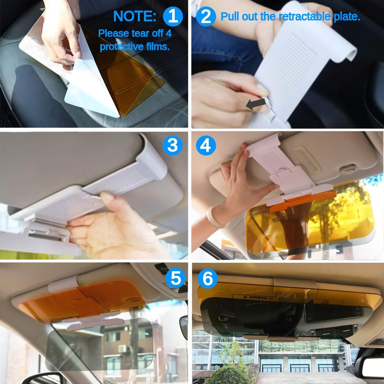 Anti-Glare Visor Universal Size Sunshade Mirror Night Vision Anti-Dazzle Windshield Driving Visor Car Sun Visor Extra Width Day and Night Auto Driving Visor Extender