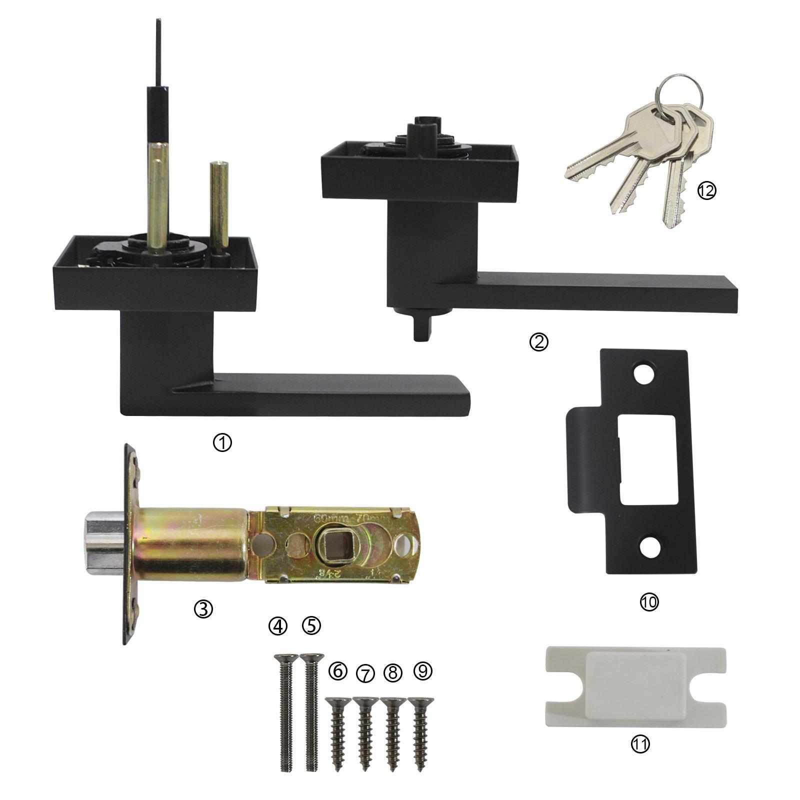 10 Pack Probrico Interior Bedroom Entrance Door Lever Doorknobs Door Lock One Keyway Entry Keyed Alike Same Key Entrance Lockset in Black Each with 3 Keys by Probrico (Image #4)