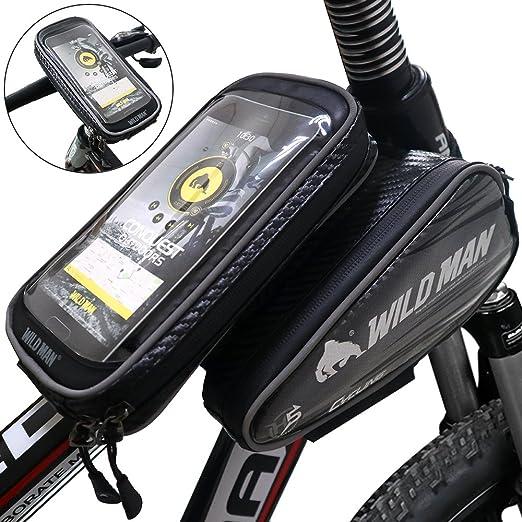 Bolsa Bicicleta DeFe Impermeable Bolsa Marco Ciclismo Frontal Tubo Superior de Cuadro con Desmontable Bolso Funda Móvil de Bici Pantalla Transparente ...