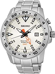 Seiko SUN025P1 Mens Kinetic Gmt,Stainless Steel Case & Bracelet,100m WR SUN025