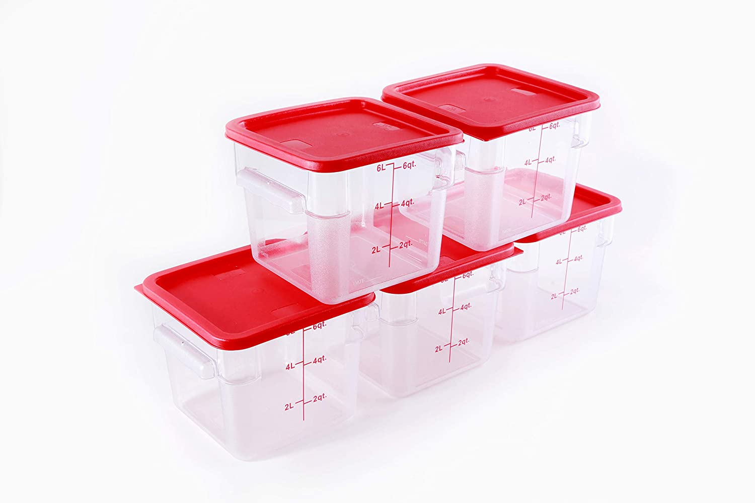 Hakka 6 Qt Commercial Grade Square Food Storage Containers with Lids,Polycarbonate,Clear - Case of 5