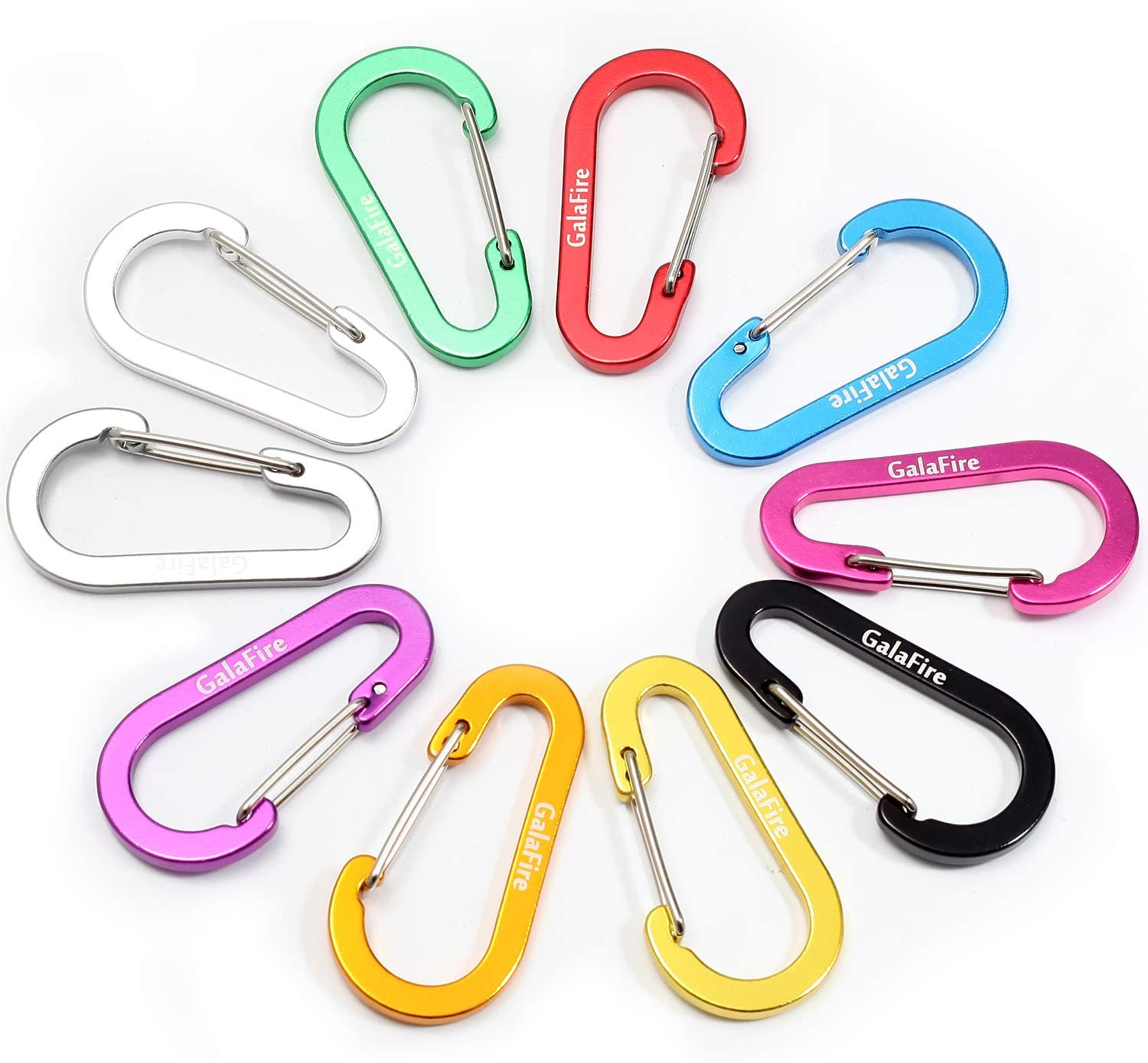 "GALAFIRE 10Pcs Carabiner Clip Small for Keys, Hiking, Camping, 2 3/8"" (6 cm), Aluminum, Assorted Colors, Not for Climbing"