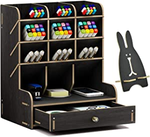 Wood Desk Organizer With Drawer, Multipurpose Pencil/pen Holder, Wooden Desktop Stationary Organizer Shelf for Art Supplies, Easy Assembly Office Organization, Small Accessories Storage Table (Black)