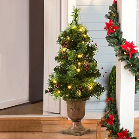 51162e97e5aa goplus 3 ft christmas tree pre lit tabletop artificial entrance tree with  led lights
