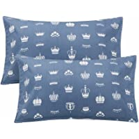 "LIFEREVO 100% Cotton Crown Print 2 Pack Toddler Pillowcases Envelope Style Closure for Pillow Size 13""x18"" and 14""x19"" (Blue)"