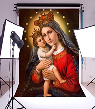 Laeacco 5x7ft Vinyl Backdrop Photography Mary and Her Crown Background Stars Celebration Spain Virgin Mary and Child Shiny Crown Holy Light Background Children Shoot Photo Studio Prop