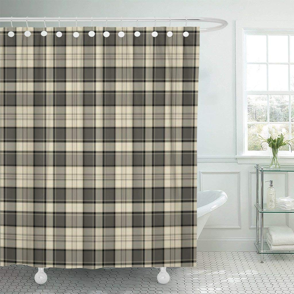 "Emvency Fabric Shower Curtain with Hooks Tan Flannel Plaid Pattern Brown Masculine Black Cream Country Tartan Taupe Autumn 60""X72"" Decorative Bathroom Treated to Resist Deterioration by Mildew"