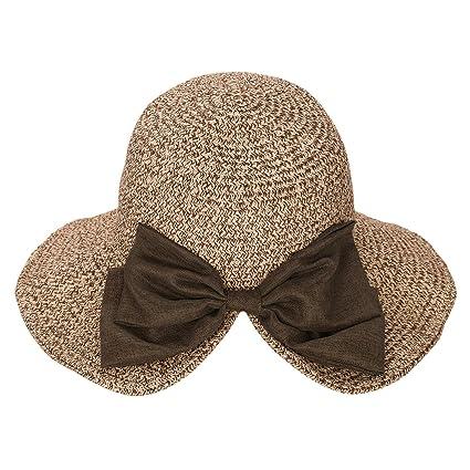ITODA Women Sun Hat Summer Straw UPF 50+ Beach Bucket Wide Brim Adjustable  Anti- 52485b99d703