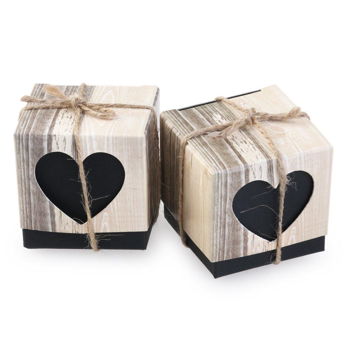 100pcs Blank Heart Rustic Kraft Candy Boxes Wedding Shabby Chic Burlap Jute Vintage Gift Favor (Spades Heart)