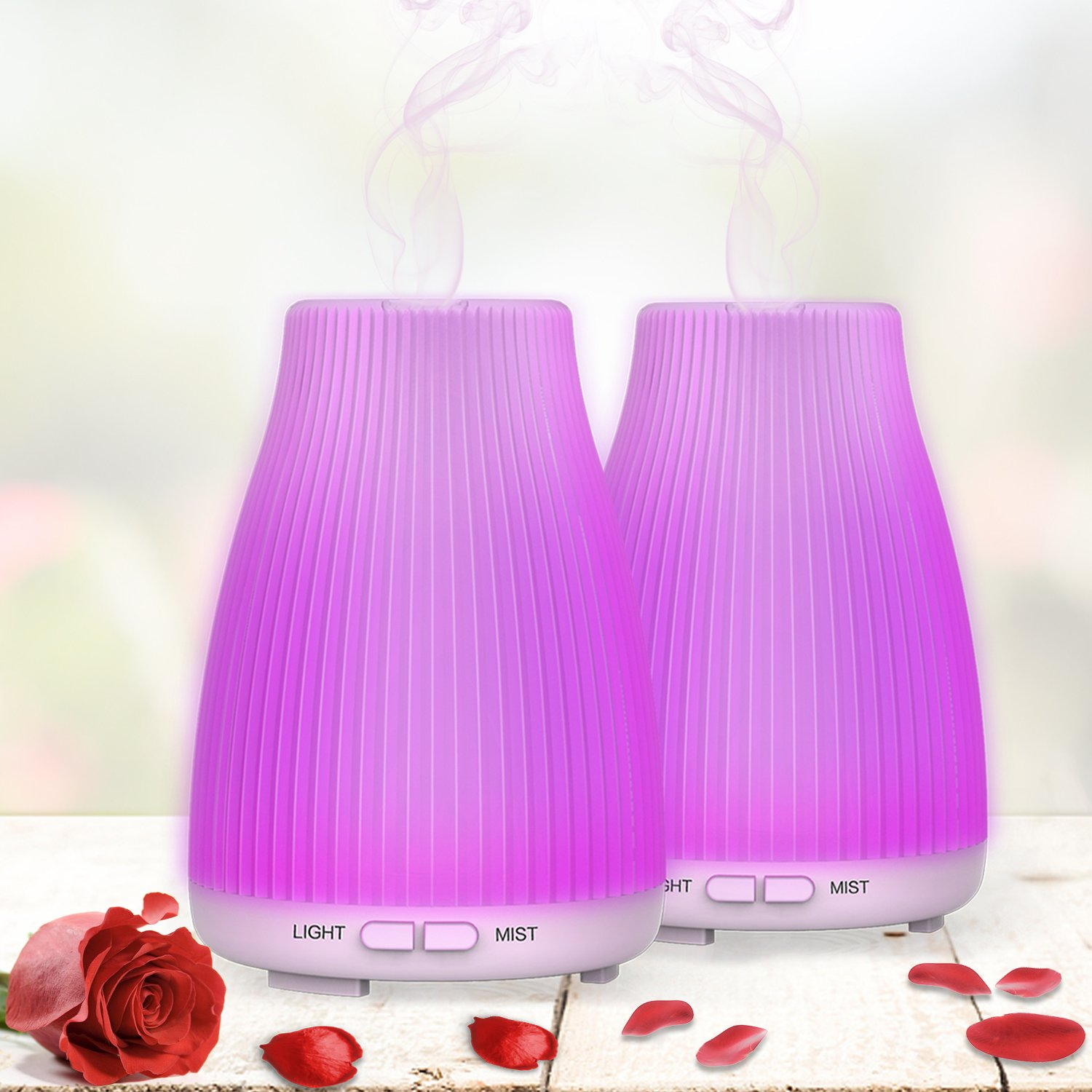 Aromatherapy Essential Oil Diffuser 100ml Diffusers For Essential Oils, Neloodony Diffuser Humidifier With 8 Colors Light, Waterless Auto Shut-off,Adjustable Mist Mode Mother's Day Gift Ideas-2 Pack