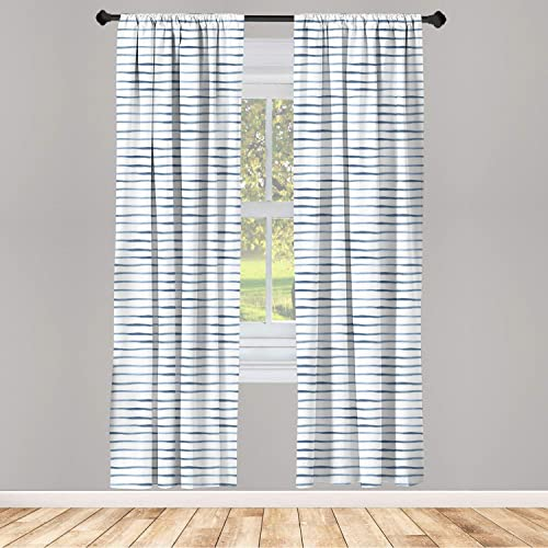 Ambesonne Harbour Stripe Curtains 2 Panel Set