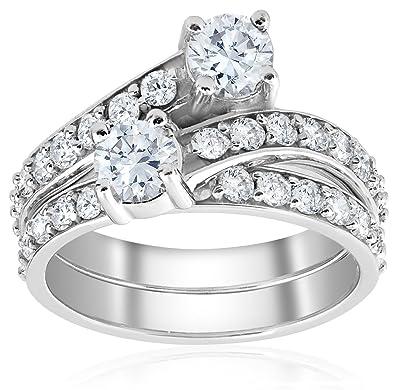 3359eb7c8 2ct Diamond Forever Us 2 Stone Solitaire Engagement Ring Wedding Set White  Gold - Size 4
