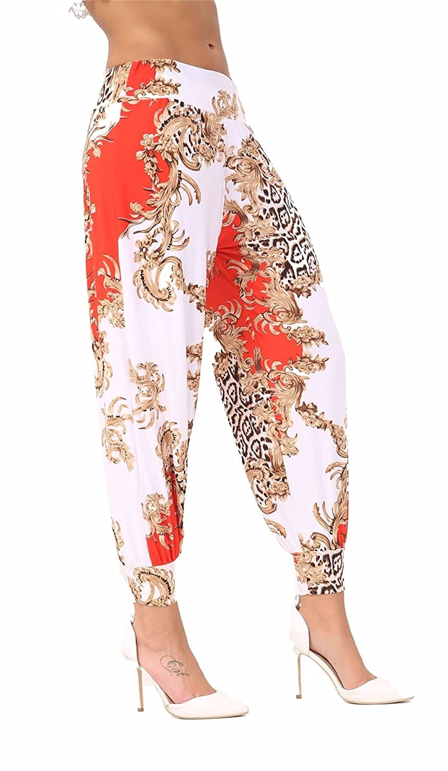 Womens Fancy Ali Baba Printed Hareem Baggy Trouser Ladies Full Length Party Wear Cuffed Pants Small/XXX-Large DIGITAL SPOT