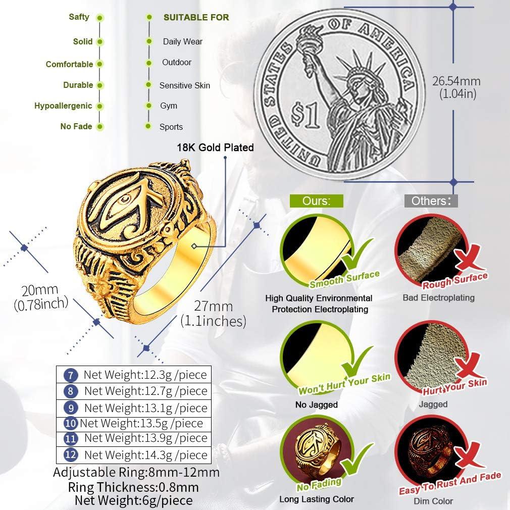 FaithHeart Bague Homme T/ête De Mort,Anneau Cr/âne//Oeil d/'Horus//Mains de Pri/ère en Acier Inoxydable Taille 54//56.5//59//61.5//64//66.5 Grosse Bague Gothique Personnalis/é avec Bo/îte Cadeau Argent/é//Or 18K